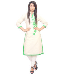 Designer Leaf Embroidered Kurti
