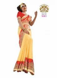 Yellow Color Jacquard Saree