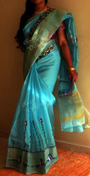 Hand Painted Synthetic Silk Saree