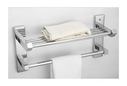 Wall Silver Ciplaplast SS Towel Shelf With Towel Holder for Bathroom, Size: 25x51.5x18.5 Cm
