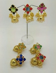 Color Stone Top With Golden Jhumki