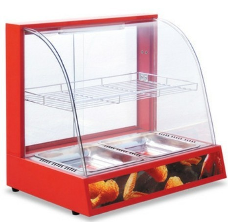 Glass Curved Food Warmer Counter, for Commercial
