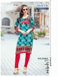 Regular Wear Printed Mayur Khusika Kurti Material
