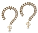 Jewelmaze Golden Crystal Studded Gold Plated Ear Cuffs With Pearl Drop