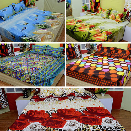 Superb Double Attractive U0026 Colourful Designer Prints Darvi 5D Bedsheets Combo