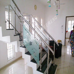S.S Railing With Glass Aside Service Work