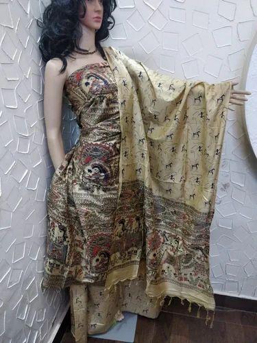 Multicolor Wedding Wear Unstitched Katan Silk Madhubani Print Suit