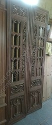 Walnut Teakwood Pooja Doors Double for Home