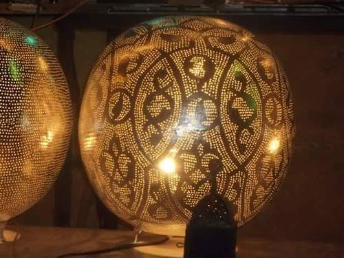 Moroccan brass table lamps 30 cm