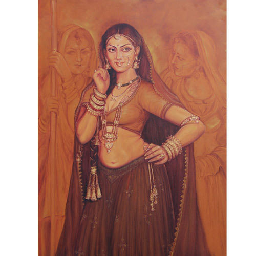 Decorative Painting - Rajasthani Women Painting Wholesale -6876
