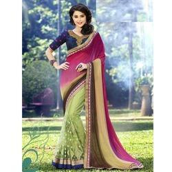 Ladies Georgette Embroidery Saree, Length: 6 m
