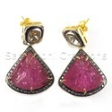 Rubylite Engraved  Diamond Earring