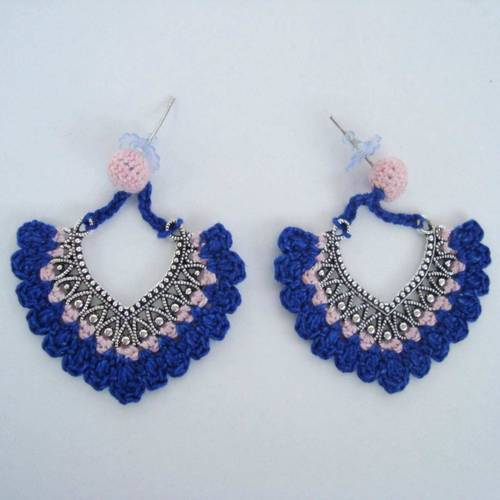 blue handmade angelfish crochet rs stud at proddetail earrings handcrafted