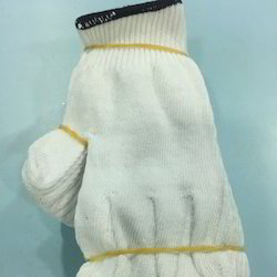 Bleached White Cotton Knitted Glove