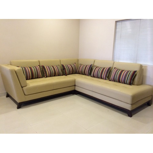 Merveilleux Skin Rexine And L Shape Sofa Set