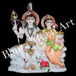 White Marble Shiv Parivar Statue