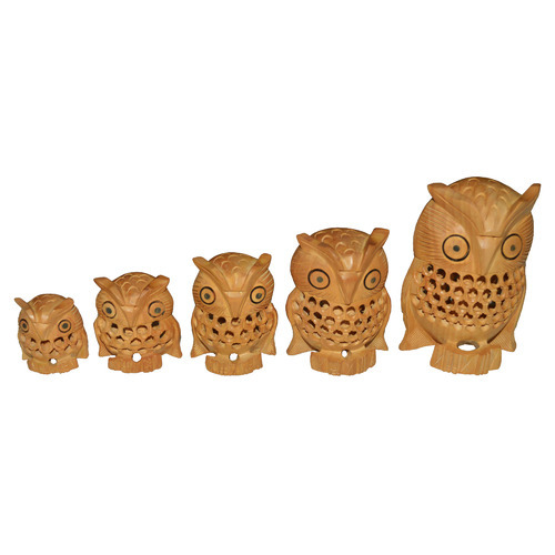 Brown Wooden Owl Set