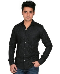 Cotton Party Wear Black Mens Designer Shirt