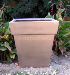 Fiberglass Metallic Square Planter