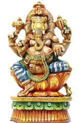 24 Inches Colourful Wooden Ganesha