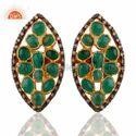925 Silver Jewelry Emerald Pave Diamond Stud Earring