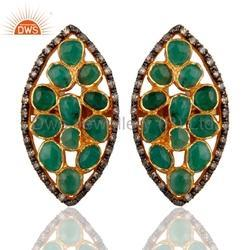 925 Silver Jewelry Emerald Pave Diamond Stud Earring