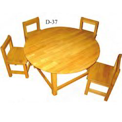 Western Rubber Wood Table with Four Chair Set