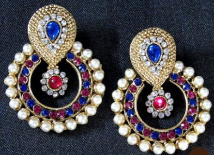 5ba474d9850 Pink And Blue Stone Pearl Polki Earring at Rs 299  pair