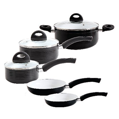 Black 5 Pcs Bakelite Handle Copper Pot Set, For Kitchen Cookware