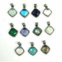 Gemstone Cushion Pave Set Gemstone Pendant