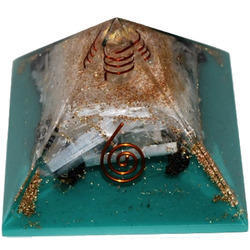 Pyramid of Orgone with Black Tourmaline Selenite