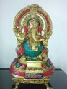 Brass Ganesh Statue with Stone Work