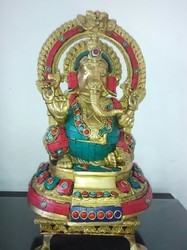 Brass Ganesh Statue with Stone Work