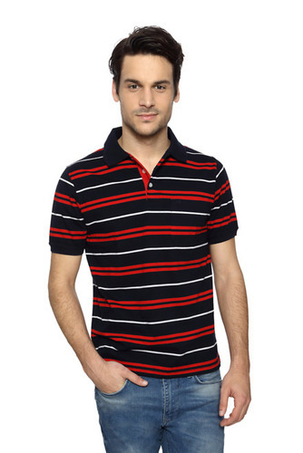 132583d745c Red And Black Striped Polo T Shirt at Rs 799