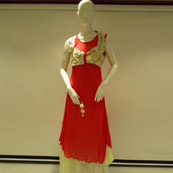 Red And Cream Women Dress