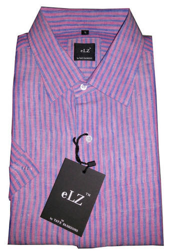Taye Fashions Pink And Blue Linen Casual Shirt