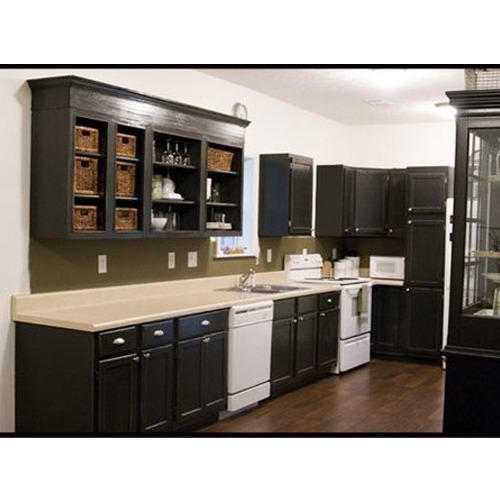 Black White Modular Kitchen Furnishing Shree Kitchens