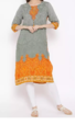 Casual Shree Grey & Orange Embroidered Printed Kurta