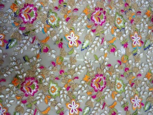 Designer Malti Coding Embroidery Net Work In Shri Padmavati Textile