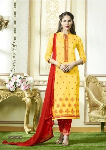 Regular Wear Yellow Georgette Material