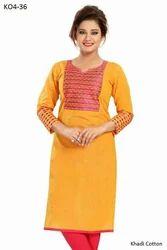 3/4th Sleeve Printed Mango Colours Cotton Kurtis, Size: L & XL