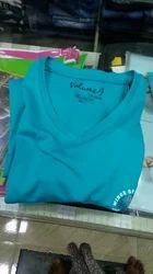 Blue Printed V Neck T Shirt