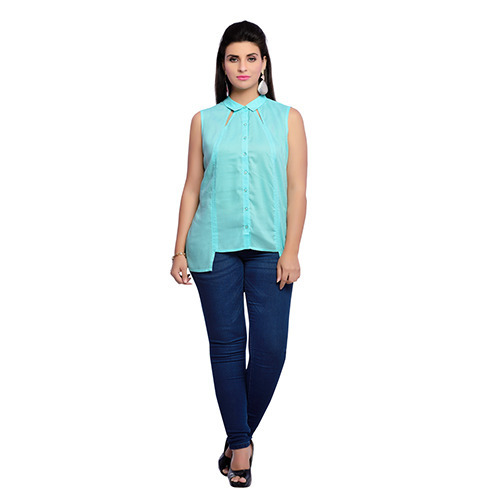 Zola Cotton Aqua Blue Sleevless Shirt