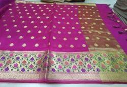 Silk Paithani Saree with Blouse Piece, Length: 6 m
