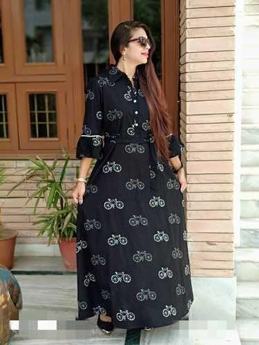 V.o.couture Black Printed Cotton Kurti 2b1a8e814