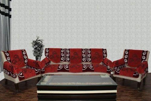Chenille Sofa Cover Farari Red 1607