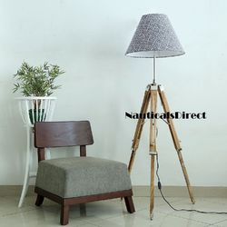 Handmade Premium Teak Wooden Tripod Floor Lamp - Home Decorate