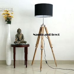 Beautiful Designer Premium Teak Wooden Tripod Floor Lamp