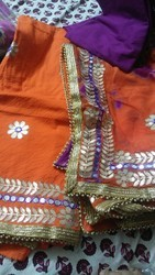 Cotton Embroidered Gota Patti Dress