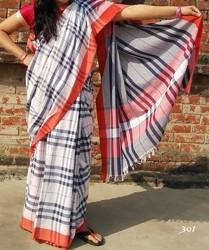 White, Many Color Cotton Cottan Saree, Hand, 6.3 m (with blouse piece)
